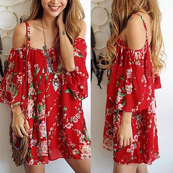 2016 New Fashion Sweet Floral Red Off Shoulder Casual Summer Dress Sexy Cute Slip Beach Party Dress Women Dress Christmas