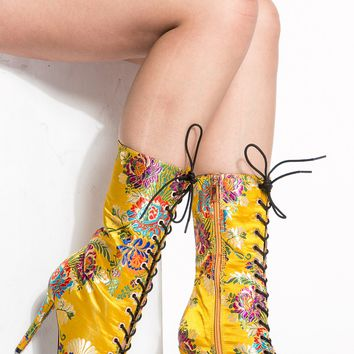 Blue Floral Print Material Lace Up Ankle Booties @ Cicihot Boots Catalog:women's winter boots,leather thigh high boots,black platform knee high boots,over the knee boots,Go Go boots,cowgirl boots,gladiator boots,womens dress boots,skirt boots.