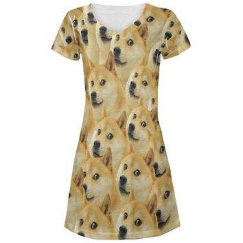LMFCY8 Doge Meme Funny All Over Juniors Beach Cover-Up Dress