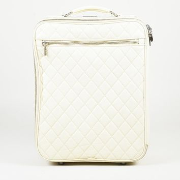 Chanel Paris-New York Cream Lambskin Quilted Carry On Rolling Luggage Bag