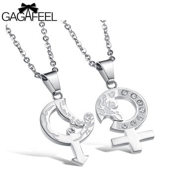 GAGAFEEL Couple Necklace Sun Moon Pendant For Men Shinning Zircon Stainless Steel Fine Jewelry Lovers Vintage Gifts