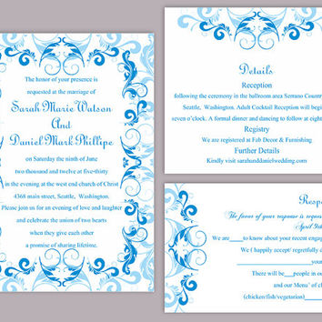 DIY Wedding Invitation Template Set Editable Word File Instant Download Printable Blue Invitation Aqua Blue Invitation Elegant Invitations