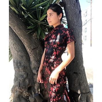 Black And Red Floral Asian Print Dress