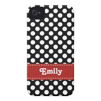 Black and White Polka Dot iPhone 4  4s Case Mate C Case-mate Iphone 4 Case from Zazzle.com