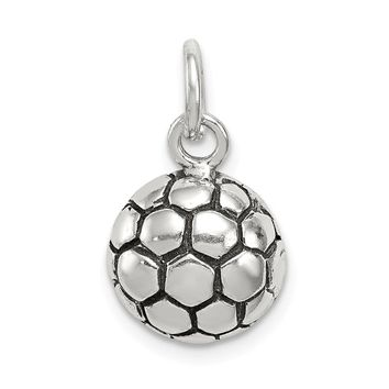 925 Sterling Silver Antiqued Soccer Ball Charm and Pendant