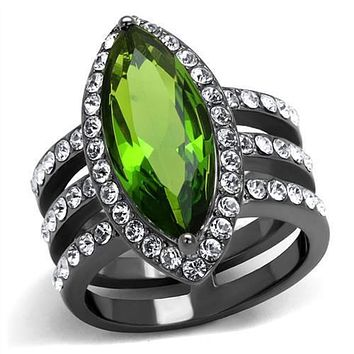 WildKlass Stainless Steel Ring IP Light Black (IP Gun) Women Synthetic Peridot