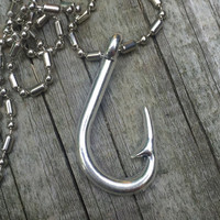 Fish hook necklace, silver fish hook, fish hook jewelry, rear view mirror option