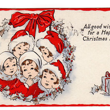 Vintage 1910's Whitney Christmas Postcard Kids Dressed in Red 1910s Greeting Red Ribbon
