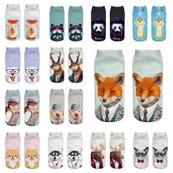 JUMEAUX Fashion 3D Printing Women's Socks Funny Animals Cute Pug Dog Cat Fox Pattern Ankle Socks For Spring Autumn Gifts