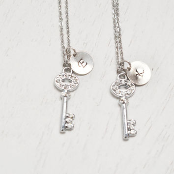 silver key necklace,bff jewelry,best friend necklace,bridesmaid jewelry,skeleton key pendant,key jewelry,friendship symbol,matching couple