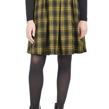 Box pleat wool check skirt