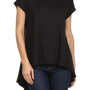 Women's Black Tunic Short Sleeve Shirt Asymmetric Hem Solid Black: S/M/L
