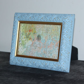 Light blue and gold 4x6 picture frame - Painted frame, upcycled frame, blue decor
