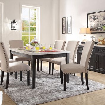 Acme 72850-52 7 pc Nolan white marble top salvaged dark oak finish wood dining table set