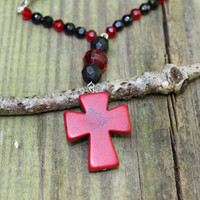Rear view mirror charm. A red stone cross with red and black beads to hang in your car. Rosary look, Catholic Christian cross charm