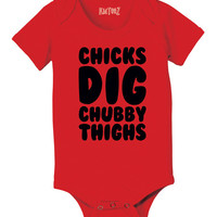 Red Chicks Dig Chubby Thighs Bodysuit - Infant | zulily