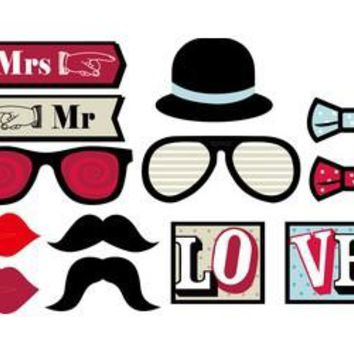 13pcs/set PhotoBooth Props Mustache Party Lips Wedding Photo Booth Props on a Stick Circus Carnival