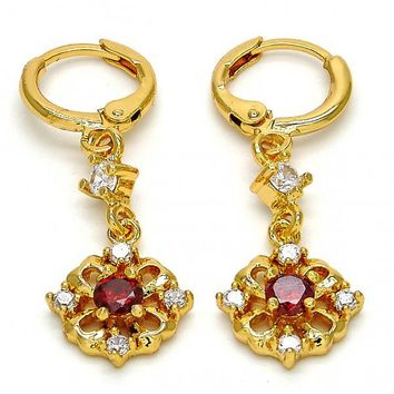 Gold Layered 02.206.0022 Long Earring, Flower Design, with Garnet and White Cubic Zirconia, Polished Finish, Golden Tone