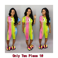 Champion Popular Women Leisure Rainbow Gradient Top Pants Set Two-Piece Sportswear 1#