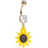 Clear CZ 14KT Gold Plated Cheerful Yellow Sunflower Dangle Belly Ring | Body Candy Body Jewelry