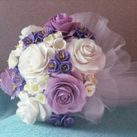 rose wedding bouquet - Bridal bouquet. lilac, lavender, white rose bouquet