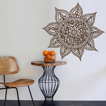 Wall Decal Vinyl  Mural Sticker Art Decor Bedroom Yoga Kitchen Ceiling Mandala Menhdi Flower Pattern Ornament Om Indian Hindu Buddha (z2853)