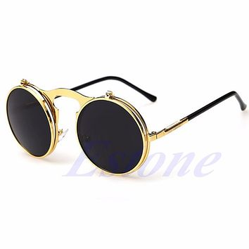 [LvDing] Women Men Unisex Vintage Gothic Round Flip Up UV400 CIRCLE Sunglasses Glasses