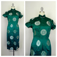 Vintage Green Chinese/Asian Style Dress.