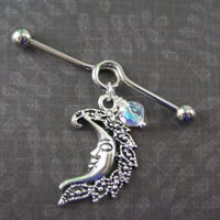 "Silver Crescent Moon & Twinkling Beaded Looped Industrial Bar Barbell Scaffold Piercing 14G gauge, 1.5"" ~ Earring, Body Jewelry"