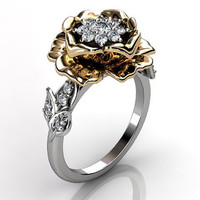 14k two tone white and yellow gold diamond unusual unique cluster floral engagement ring, bridal ring, wedding ring ER-1053-4