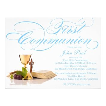 Modern Elegant First Communion Invitation for Boys
