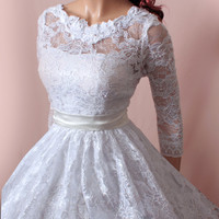 Wedding short lace dress/ 3/4 Sleeves Bridal Gown