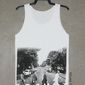 The Beatles White Tank Top Singlet Vest Tunic Sleeveless Women Shirt Punk Rock Indie Music Rock T-Shirt Size S-M