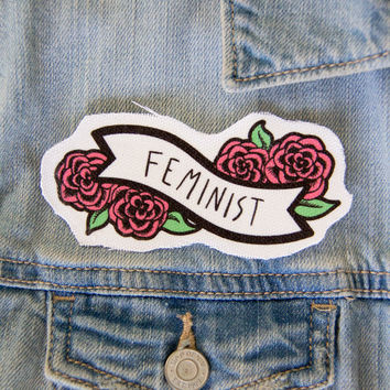 Feminist Banner with Pink Flowers Patch