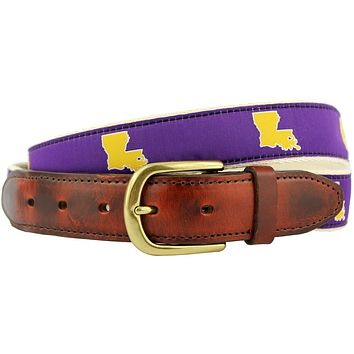 LA Baton Rouge Gameday Leather Tab Belt in Purple Ribbon w/ White Canvas Backing by State Traditions
