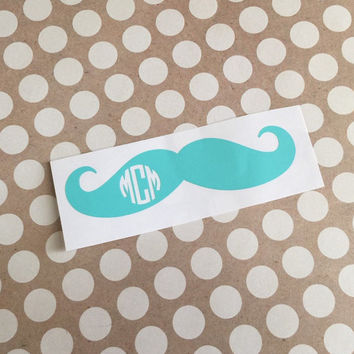 Preppy Mustache | Mustache Monogram Decal Vinyl | Monogrammed Car Decal | Personalized Vinyl Decal | Preppy Vinyl Decal | Mustache Funny 242