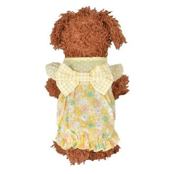 Dog Dress Summer Thin Clothes Beige Pink Puppy Jacket Vest Cute Sweater Summer Clothing Outdoor Clothing Floral Coat Cotton