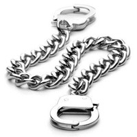 Under Arrest Bracelet – Fun novelty silver stainless steel handcuff design bracelet