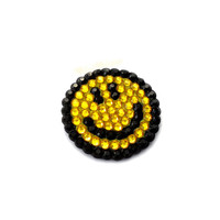 Smiley Face Brooch - Sparkly Custom Colour Crystal Encrusted Emoticon Smile Pin Badge