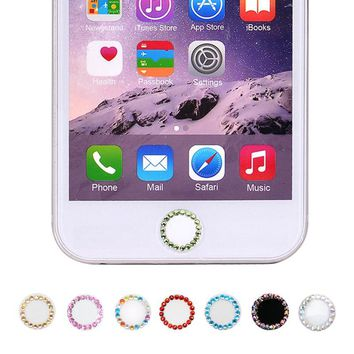 Bling Rhinestone Diamond Home Button Sticker For iPhone 7 8 Plus 6 6s 5s SE For iPad Support Touch ID Fingerprint Recognition