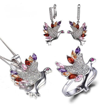 Four Colors of Feather Peace Dove Jewelry Set 925 Sterling Silver Crystal Jewelry Set Ring Earring Pendant 2016