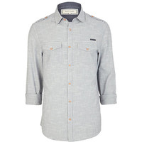 River Island MensBlue cross hatch long sleeve shirt