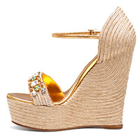 Gucci Carolina High Heel Wedge Sandal with Crystals