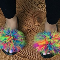 Nike Multi color faux fur slides