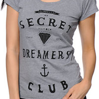 Glamour Kills Secret Secret Grey Scoop Neck Tee Shirt