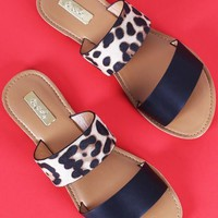 Double Band Slip On Sandals - Leopard Print