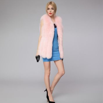 Luxury Fashion Women Medium Long Faux Fox Fur Vest Autumn Winter Sleeveless Fake Fur Vests FS0090