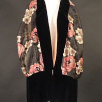 1920s Metallic Brocade Floral Evening Wrap