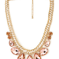 FOREVER 21 Dazzling Statement Necklace Peach/Gold One