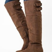 Whiskey Brown Knee High Boots with Back Buckles